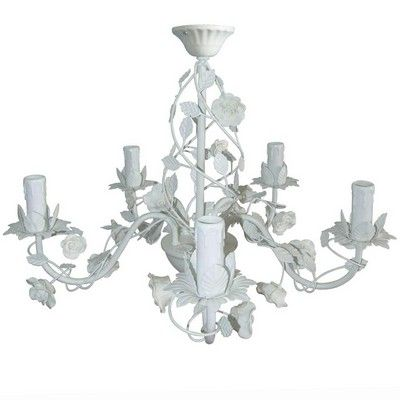 Cream rose 5 arm chandelier living room pinterest chandeliers this cream rose 5 arm chandelier is a beautiful light fixture in bright white which features a design of a rose entwined around the arms of the chandelier mozeypictures Images