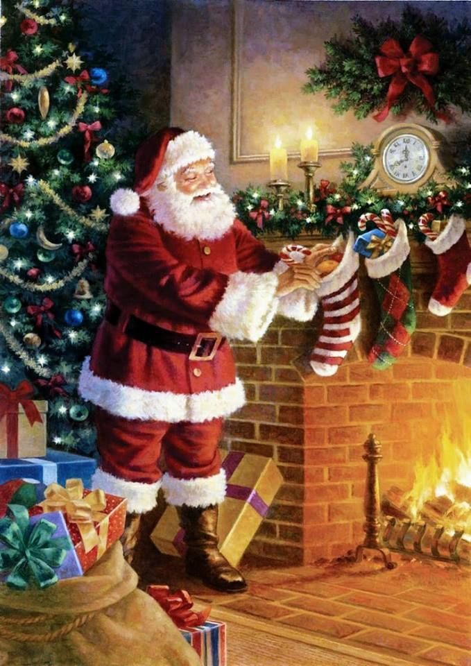 Santa Claus Filled The Stockings By The Fireplace And Deliver