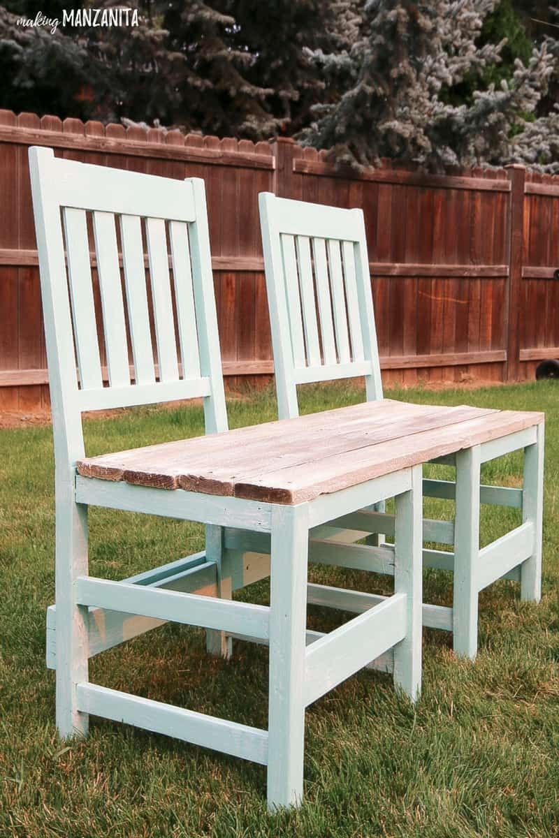 Colorful Upcycled Chair Bench For Your Backyard Painted