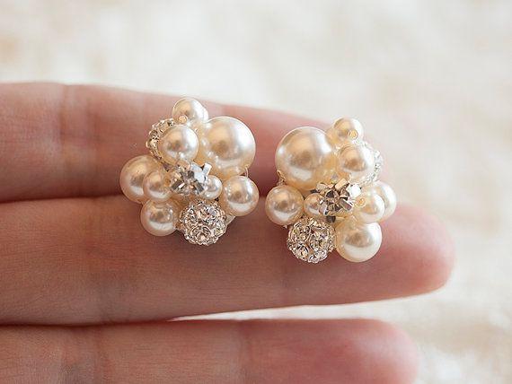 Champagne Grade A Freshwater Pearl Drop Earrings Wedding SALE