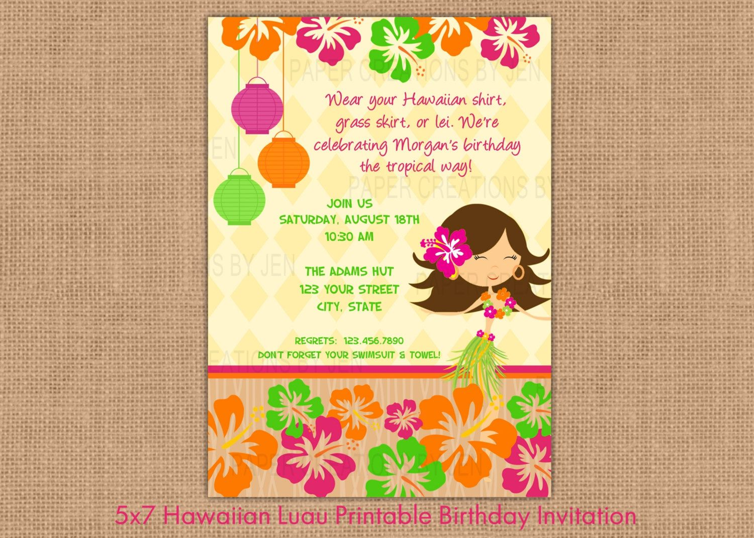 Hawaiian Luau Printable Birthday Invitation