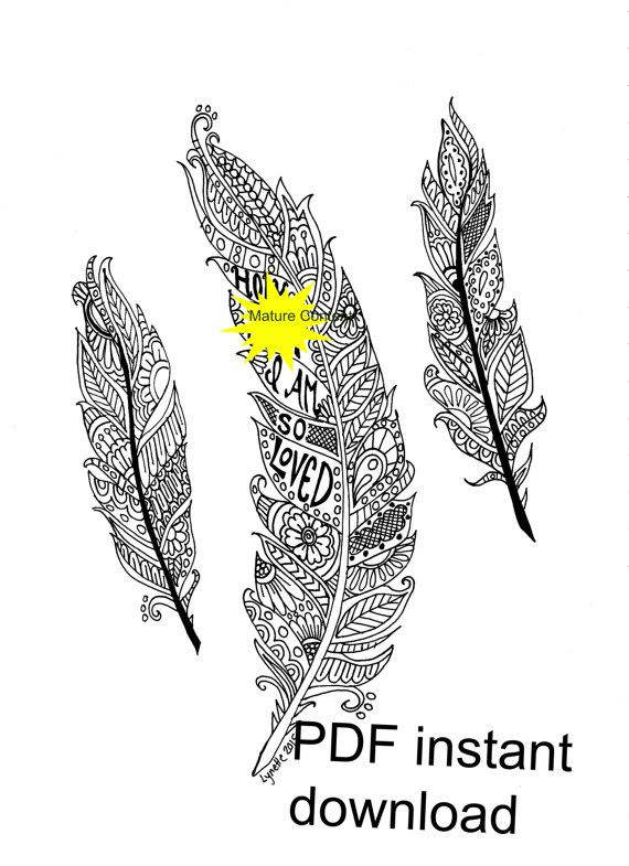 Mature Content Instant Download Sweary Coloring Page By SeaMySoul HennaColoring BookFeathers