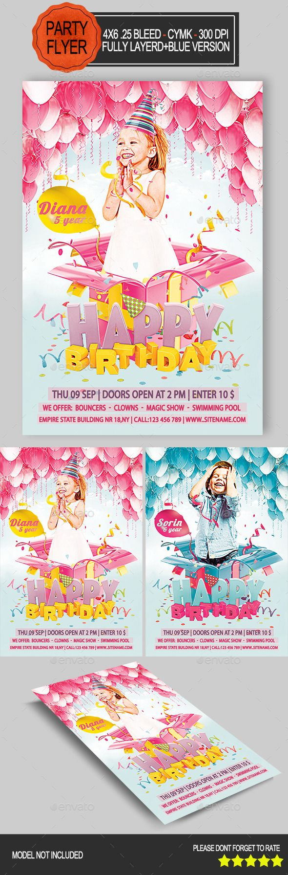 Kids Birthday Flyer  Flyer Template Template And Party Flyer