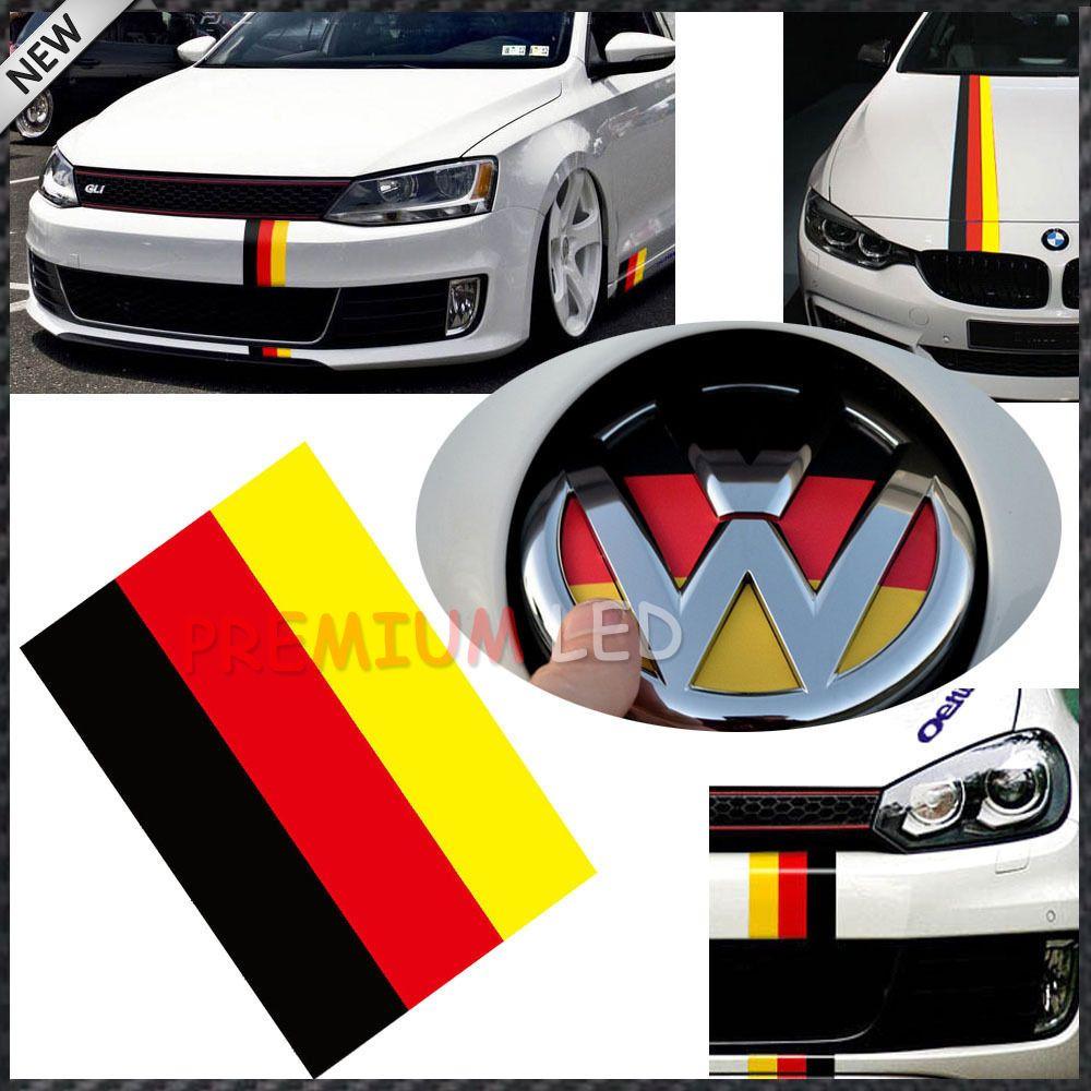 1 10 Germany Flag Color Stripe Decal Sticker For Audi Bmw Mini Mercedes Porsche Volkswagen Exterior Or Interior Decoration Vw Up Vw Jetta Import Cars