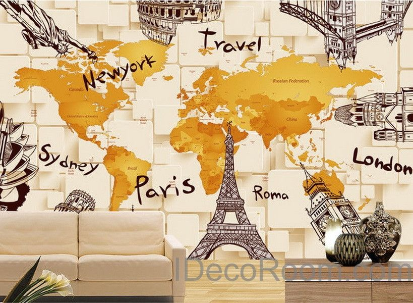 3D Architecture World Map Wallpaper Wall Decals Wall Art Print