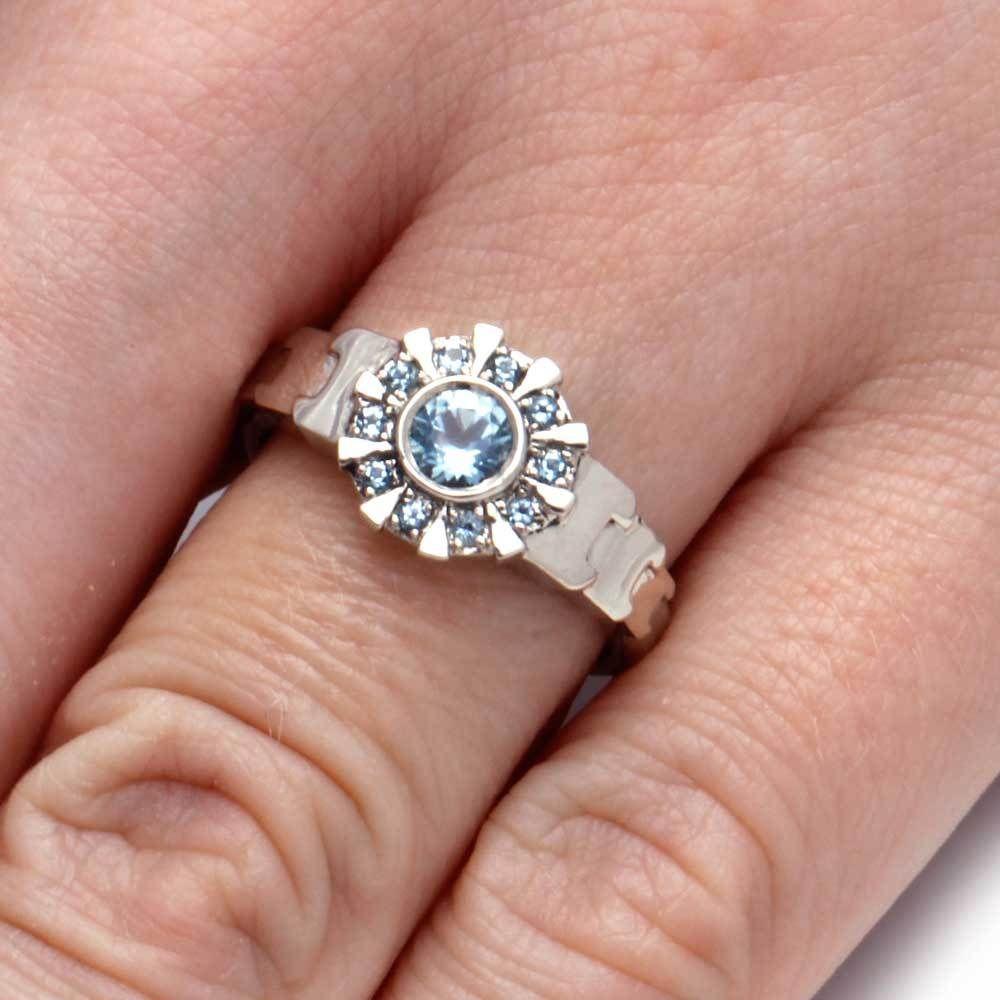 White Gold Iron Man Ring Aquamarine Arc Reactor Ring 1911 In 2020 Moissanite Wedding Band White Gold Unique Diamond Rings White Gold Sapphire Ring