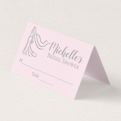 Blush Pink Bridal Shower Wedding Place Card - bridal shower gifts ideas wedding bride