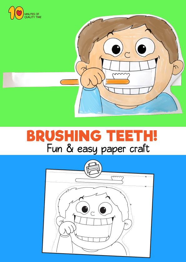 Child Brushing Teeth Printable Craft | vrtic zubici | Pinterest ...