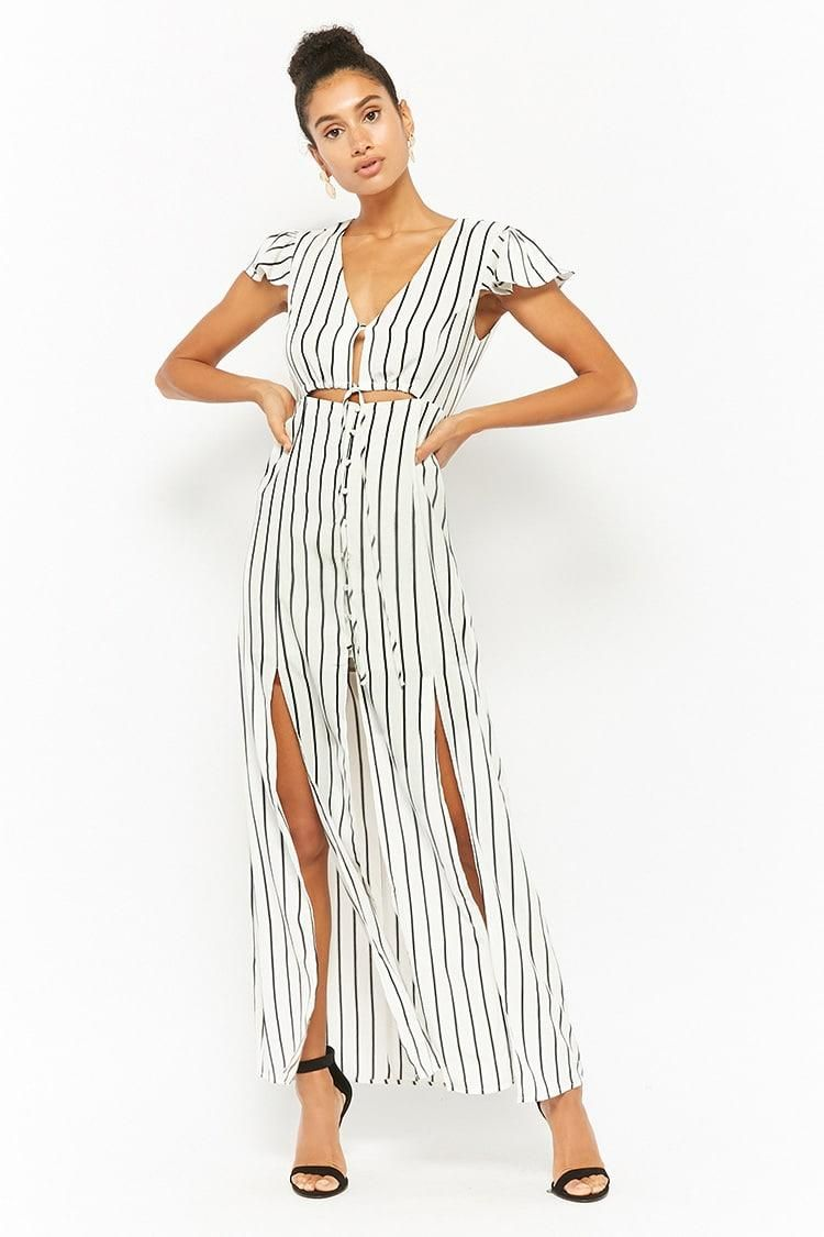 Striped buttonfront maxi dress usd forever new