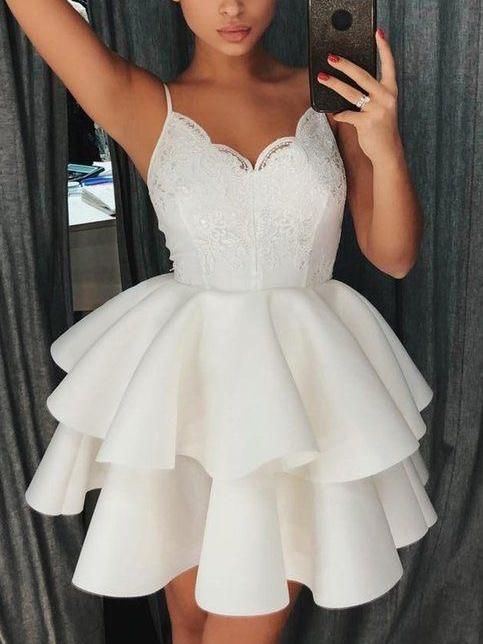 64a04af1f671 Lace Cute Homecoming Dresses Spaghetti Straps A Line Short Prom Dress Sexy  Party Dress JK693