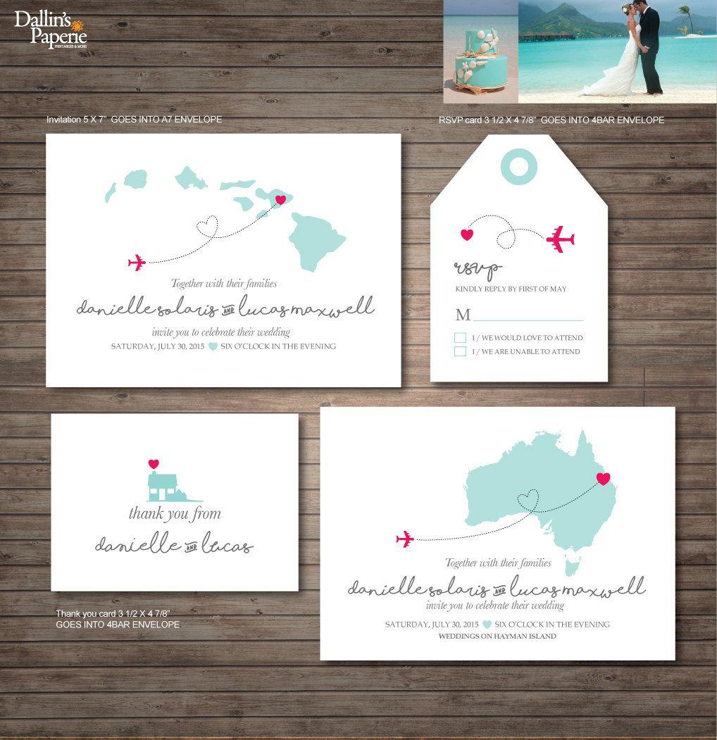 Hawaii Destination Wedding Invitation printables, beach wedding, Map ...
