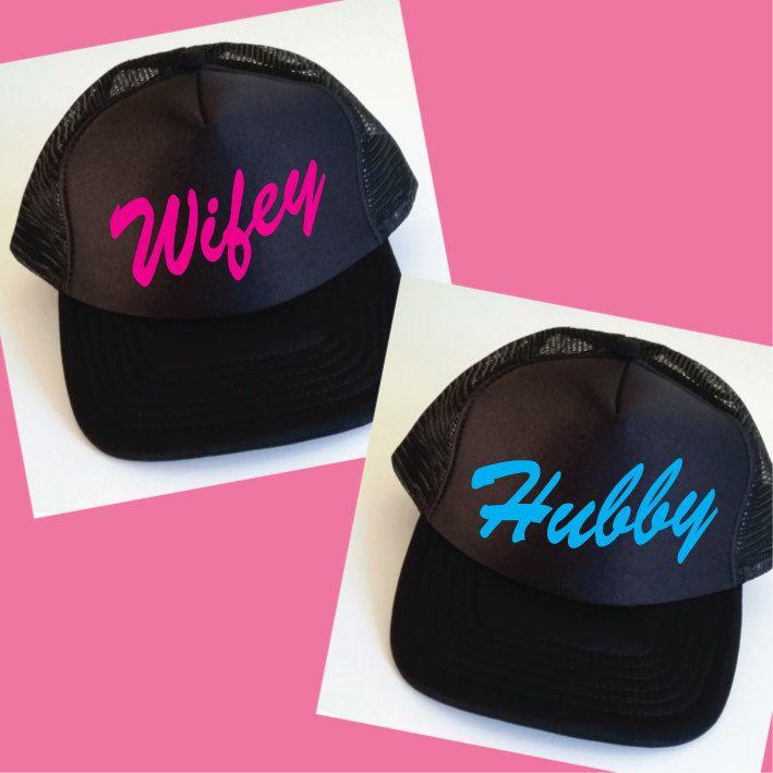 0b6c9e04 Hubby and Wifey Trucker Hats. Set of Wedding Caps. Wifey Hat. Hubby Hat. Mr  and Mrs. Matching Hats. Snapback. Honeymoon Gift. Wedding Gift. by SoPinkUK  on ...