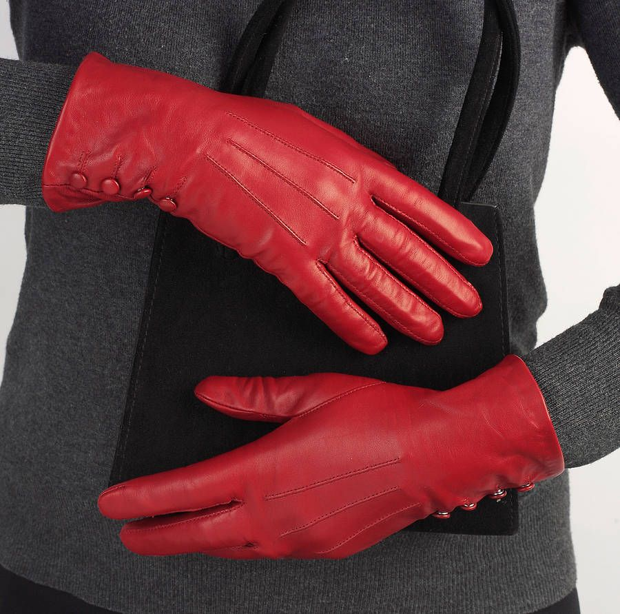 Womens lined leather gloves - Women Leather Gloves Akma Production House