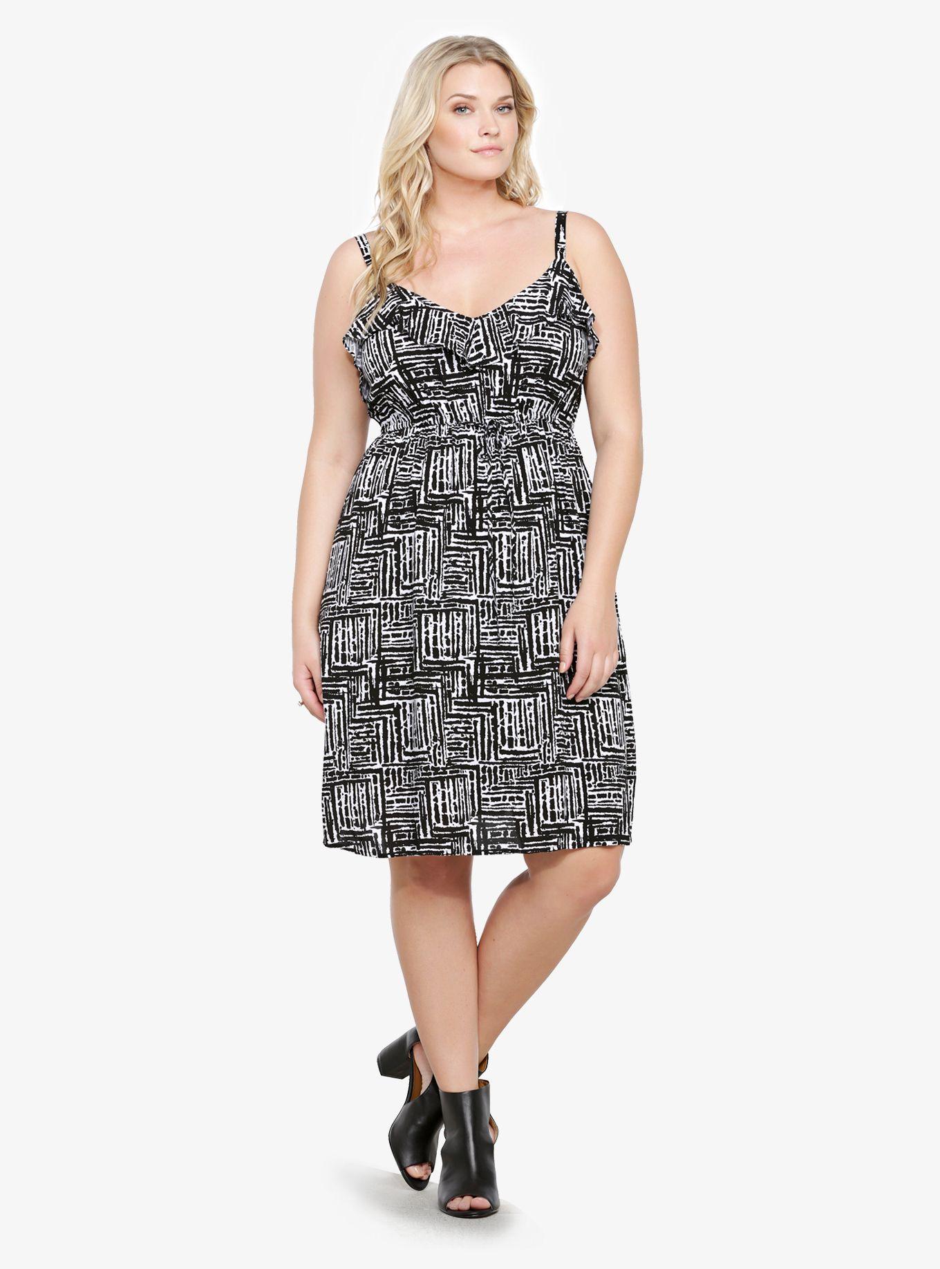 Challis ruffled dress clothes trendy plus size