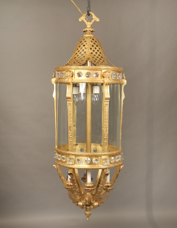 A Monumental Late 19th Century Gilt Bronze And Crystal