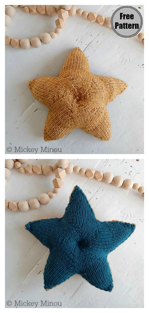Photo of Star Shaped Pillow Free Knitting Pattern