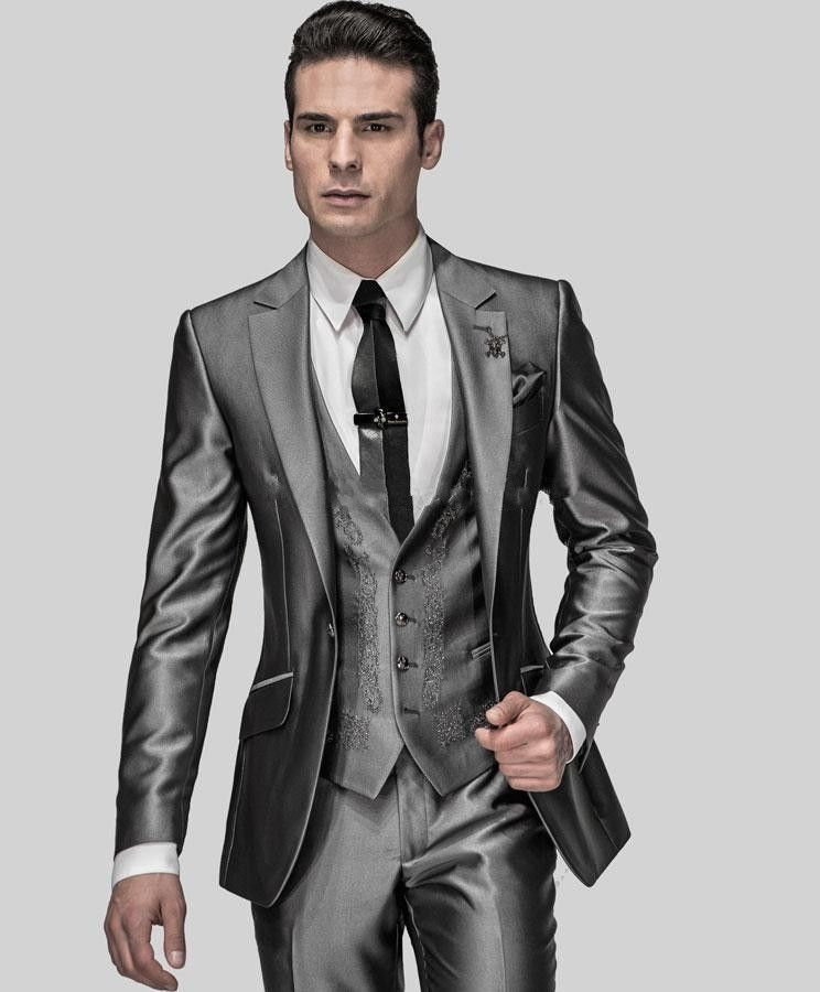 Hot Sale Slim Fit Groom Tuxedos Shiny Grey Best man Suit Notch ...