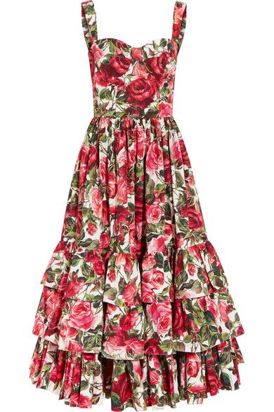 17537833 DOLCE & GABBANA Ruffled Floral-Print Cotton-Poplin Dress. #dolcegabbana  #cloth #dresses