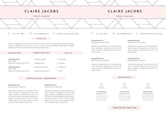 resume template  cv template editable in ms word and pages  instant digital download  size a4
