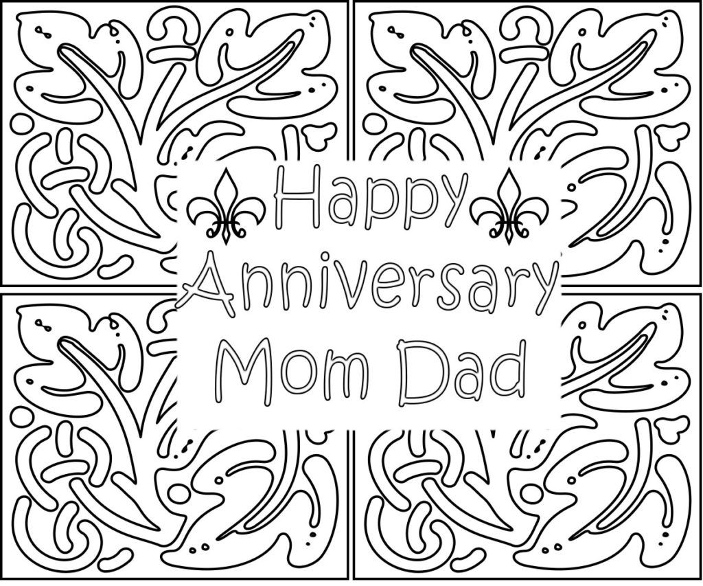 Romantic Happy Anniversary Coloring Pages To Gift Happy