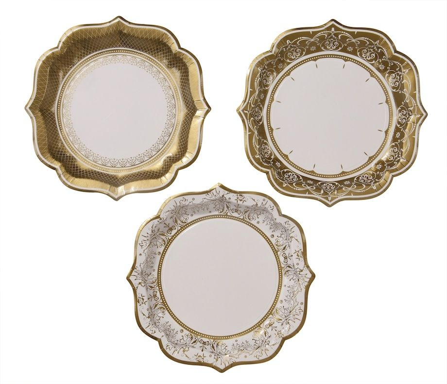 Party Porcelain Gold Paper Plates Baby Shower Theme Party