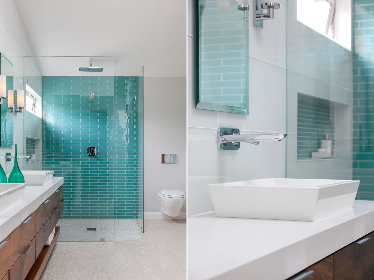 Open rain shower with amazing turquoise tiles | A Contemporary ...