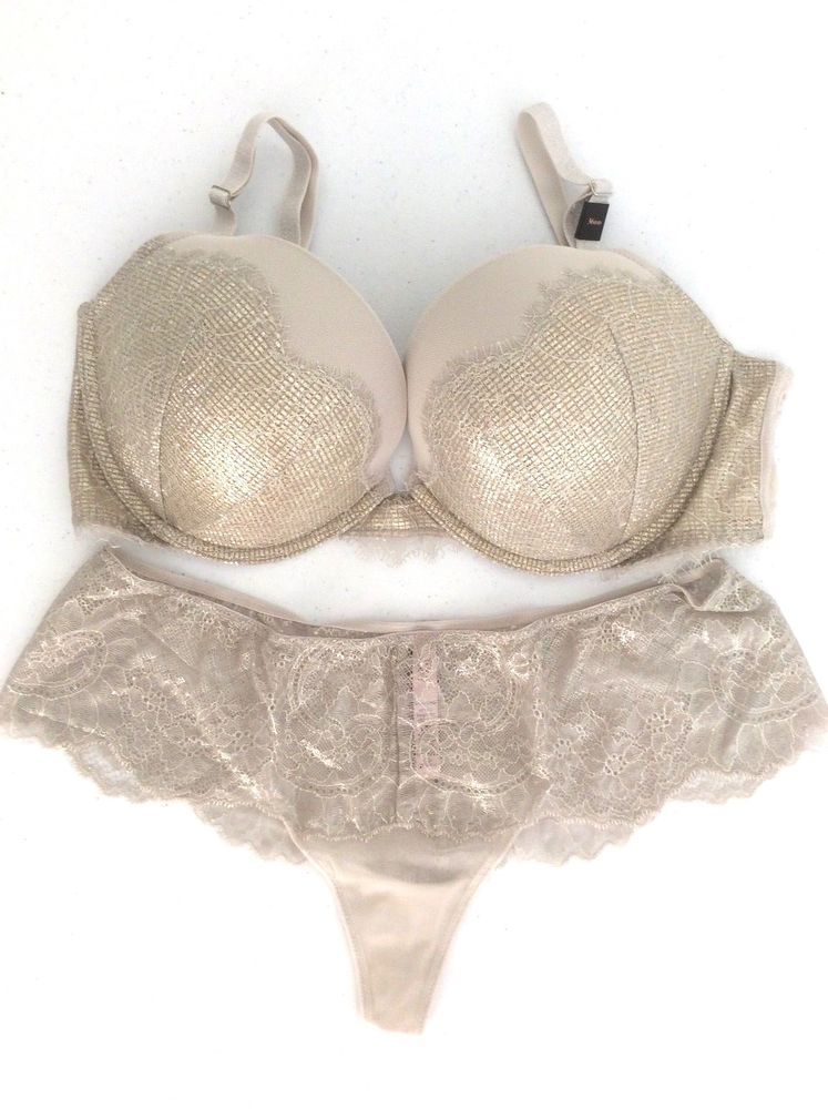 37673415a5 NEW VICTORIA SECRET Dream Angels Gold Foil Shine Push Up Bra   Panty Set  36DD L  VictoriasSecret  BraSets