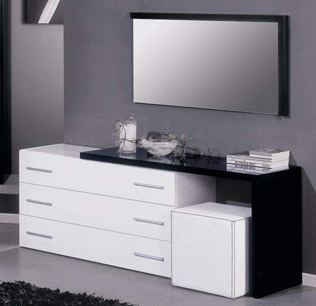 Modern Italian Dresser With Movable Extension And A Leather Pouf