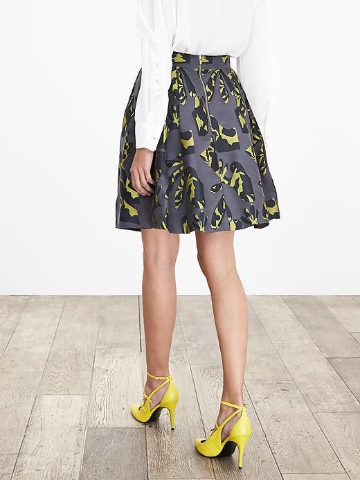 Pieced Jacquard Fit-and-Flare Skirt Product Image