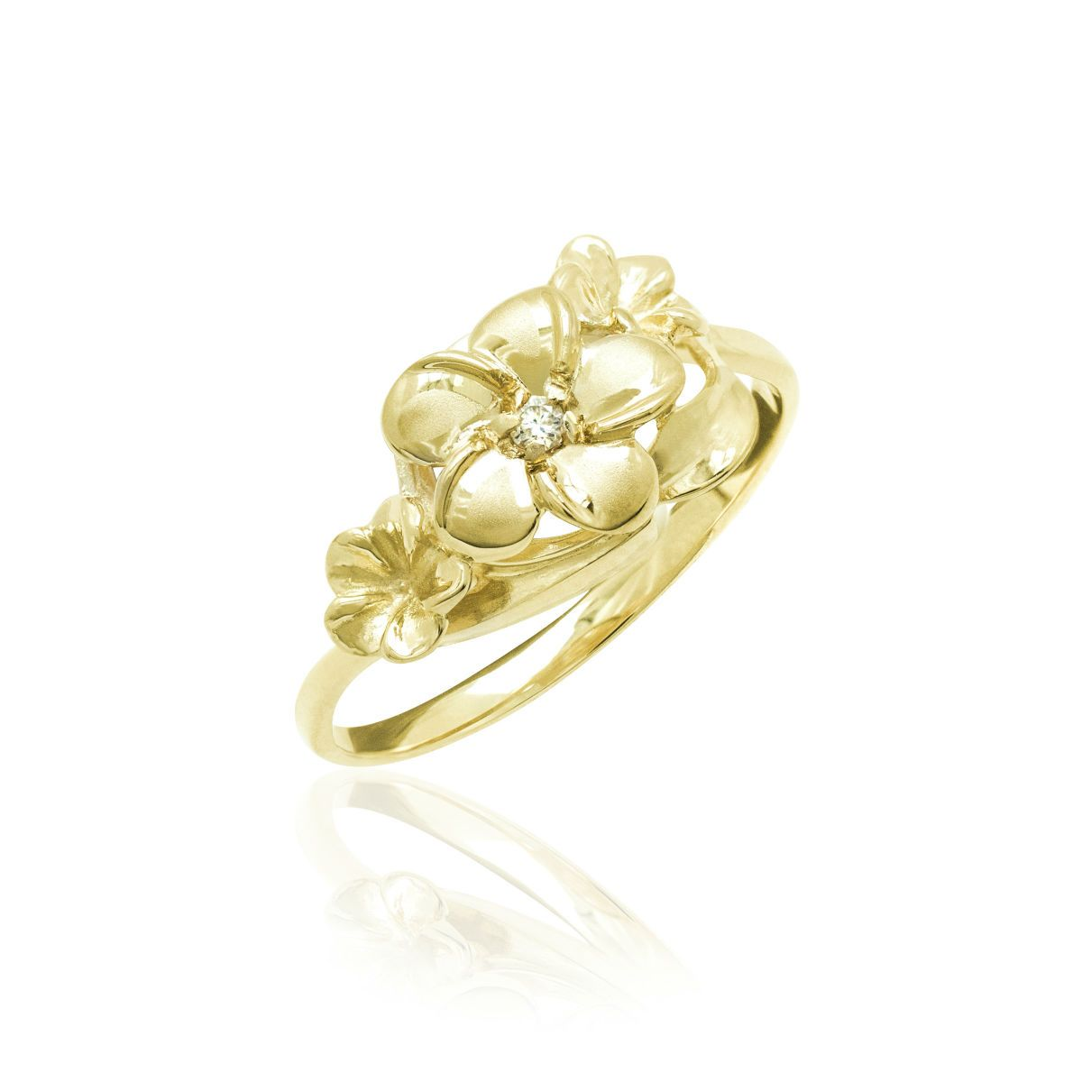 Queen Plumeria Three Flower Ring with Diamond