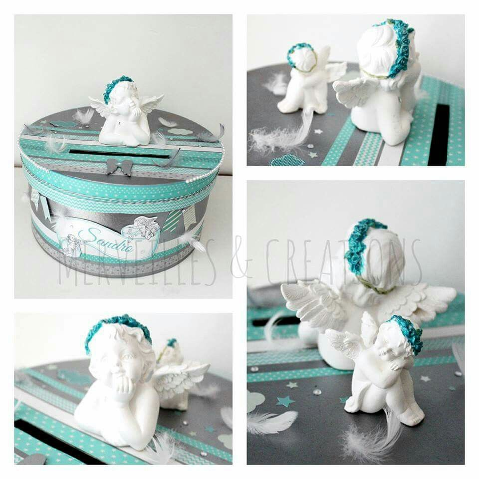 Urne bapteme theme des anges th me ange pinterest - Decoration bapteme theme ange ...