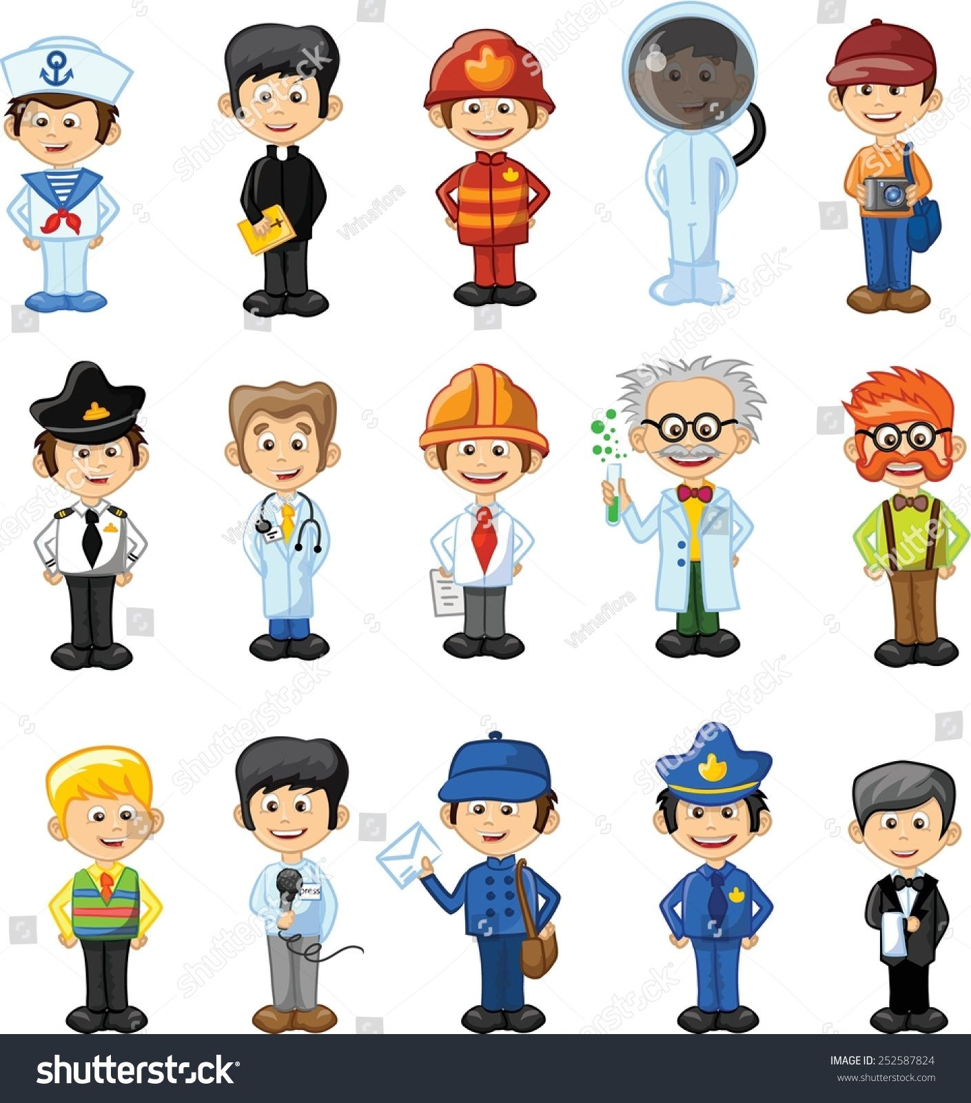 Cartoon Characters Jobs : Cartoon vector characters of different professions