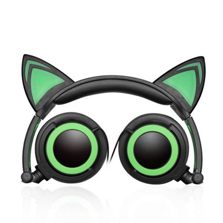 TechComm K7 LED Headphones with Pointy Cat Ears and Spare