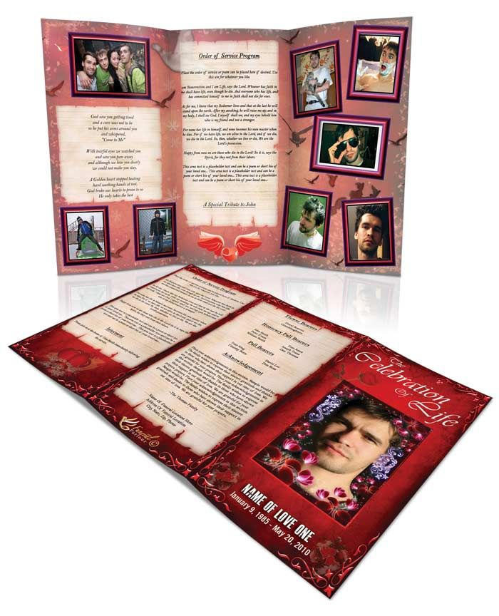 Obituary Template Classic Red Tri Fold Brochure For more Funeral