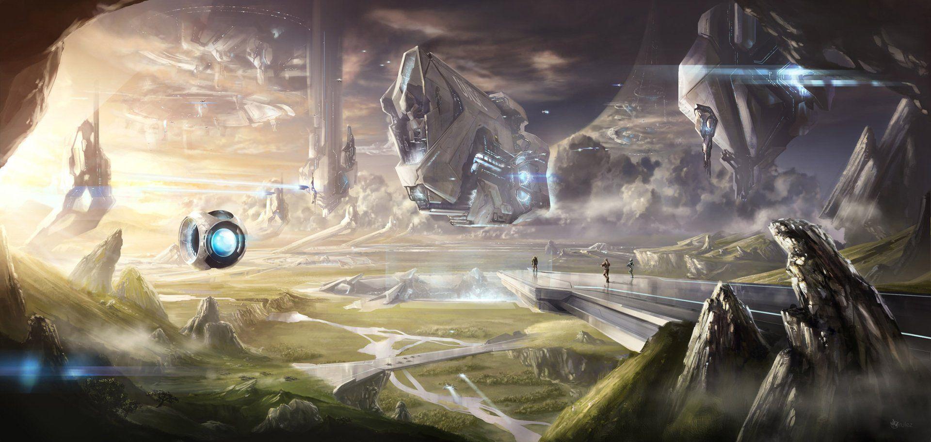 Jeux Video Halo Jeux Video Paysage Montagne Vaisseau Spatial Planete Les Gens Fond D Ecran Fond Ecran Halo Paysage Montagne
