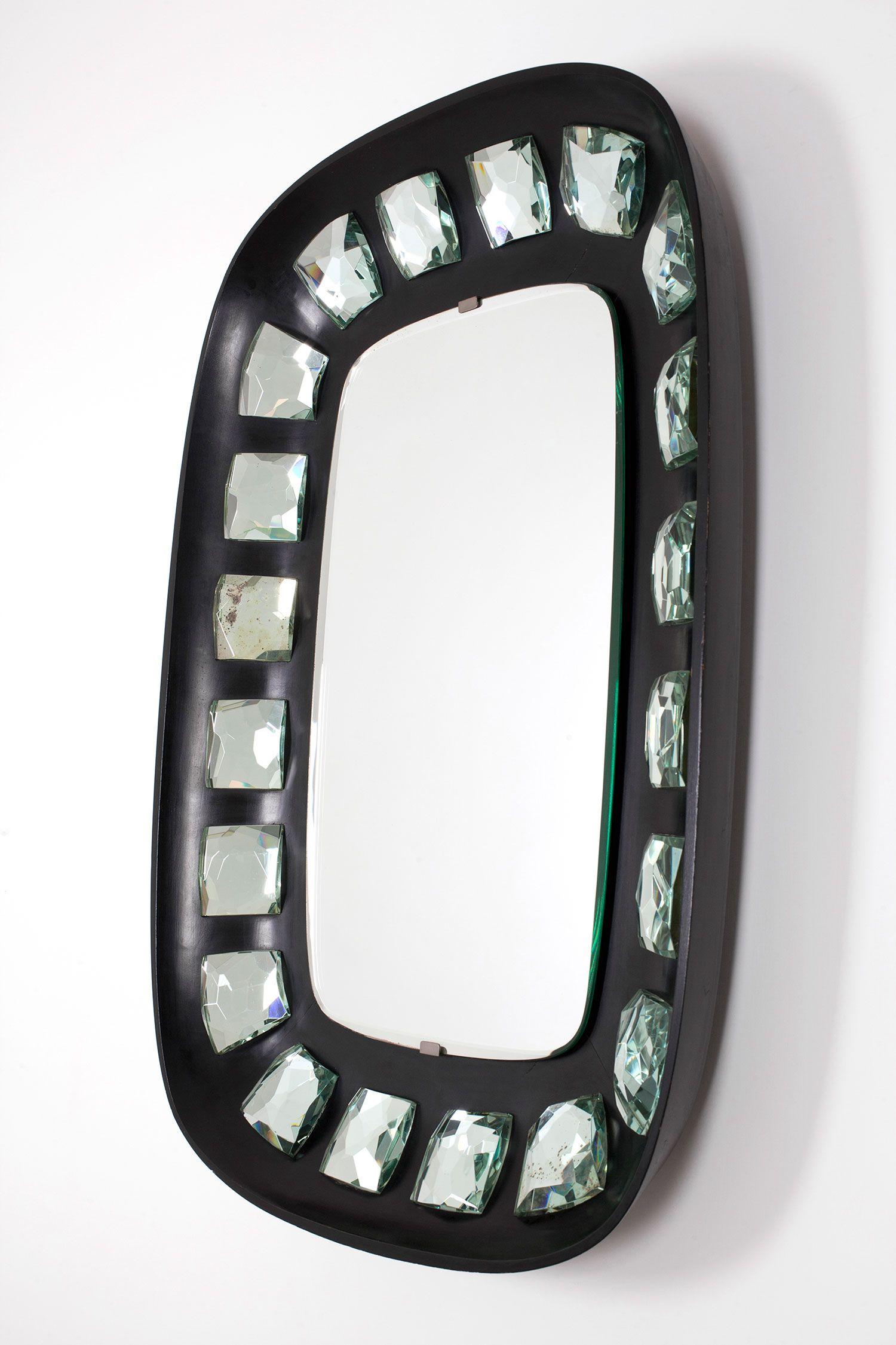 MAX INGRAND Mod. 2045 Mirror 1957 Black polished wood frame set-in ...