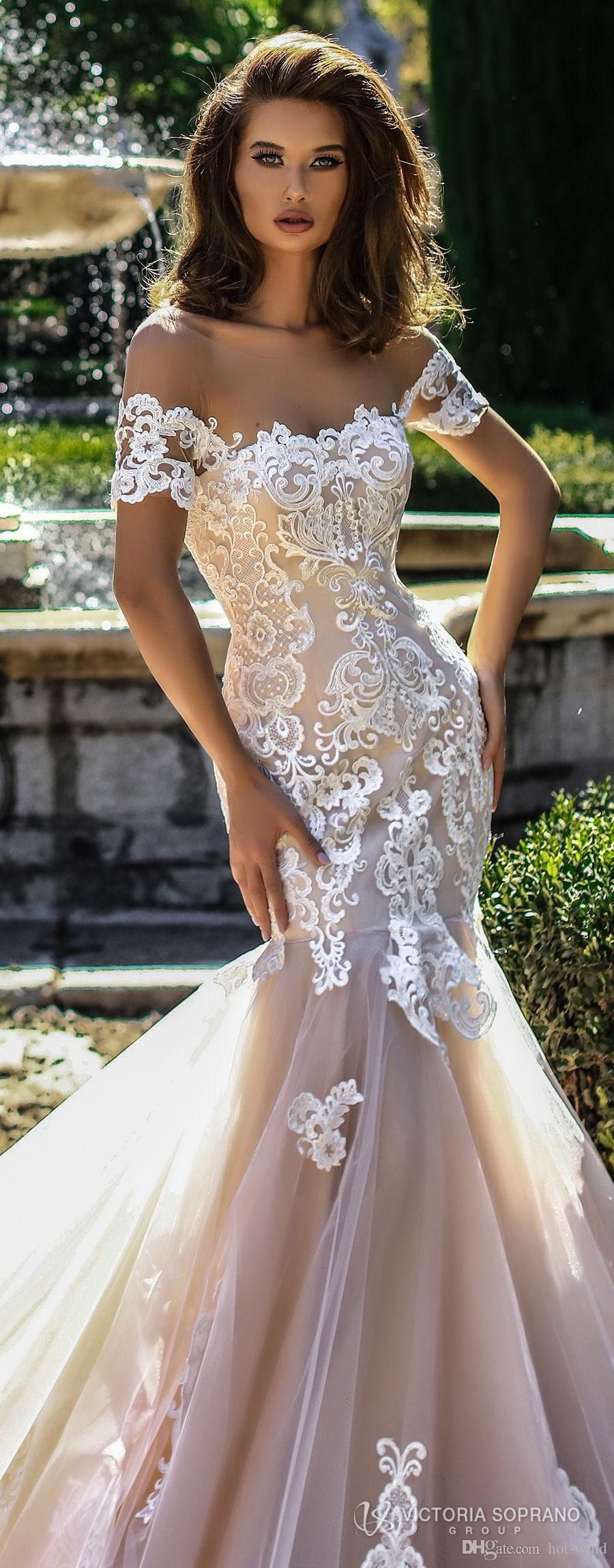 champagne mermaid wedding dresses country style new arrival