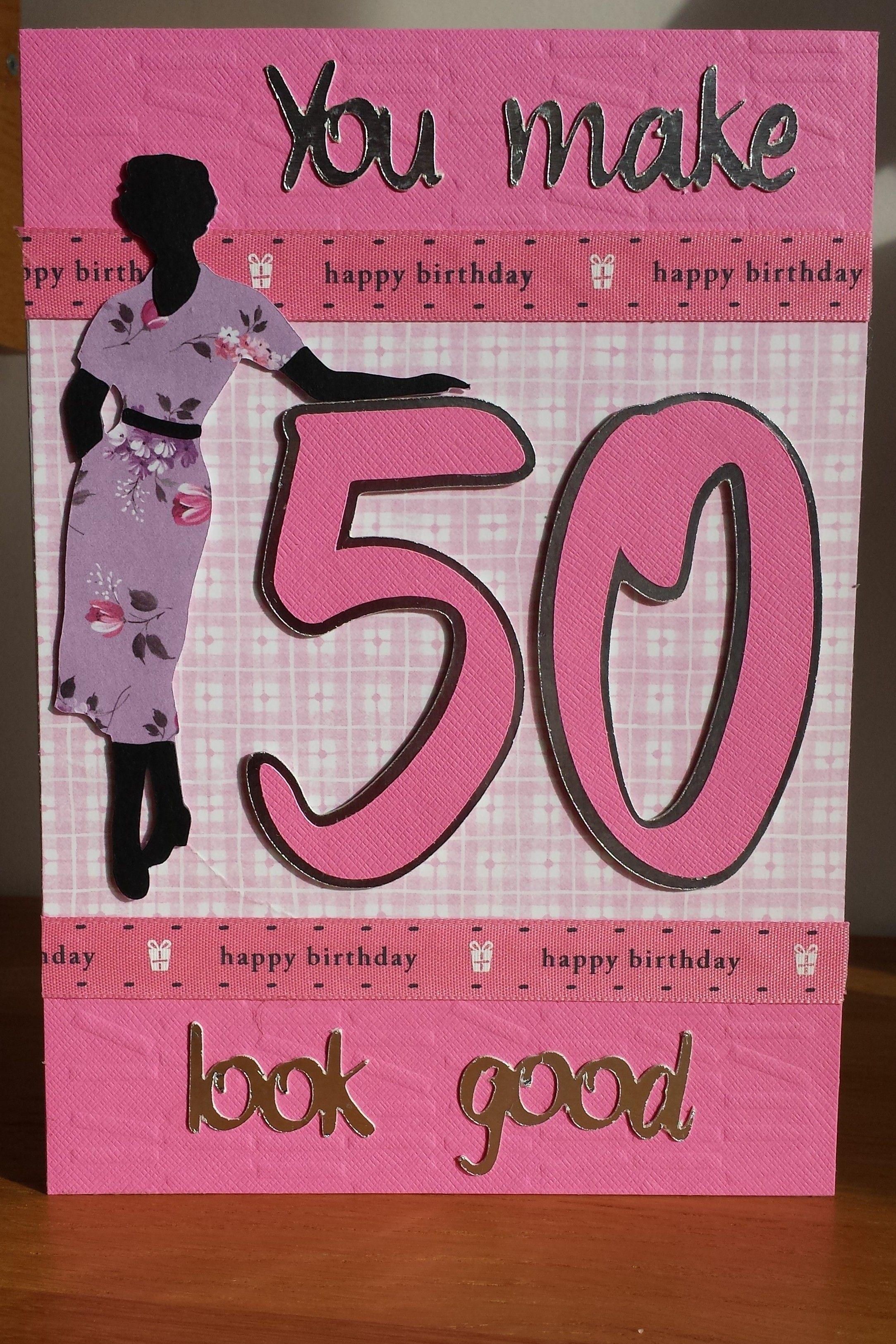 Charming Card Making Ideas 50th Birthday Part - 3: Cricut Suburbia 50th Birthday Card