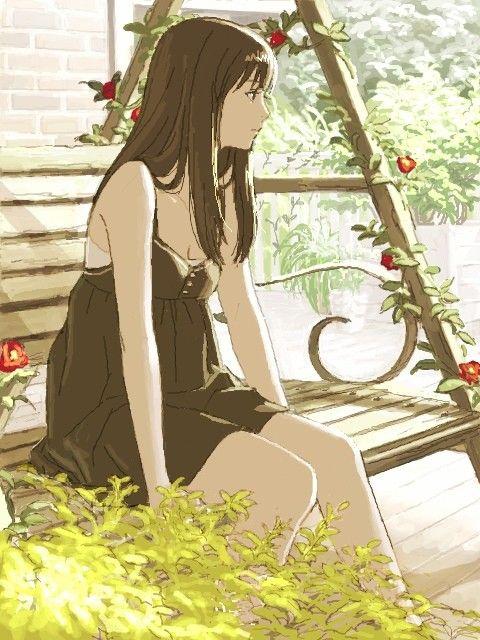 Anime Art Pretty Girl Dress Bench Swing Flowers