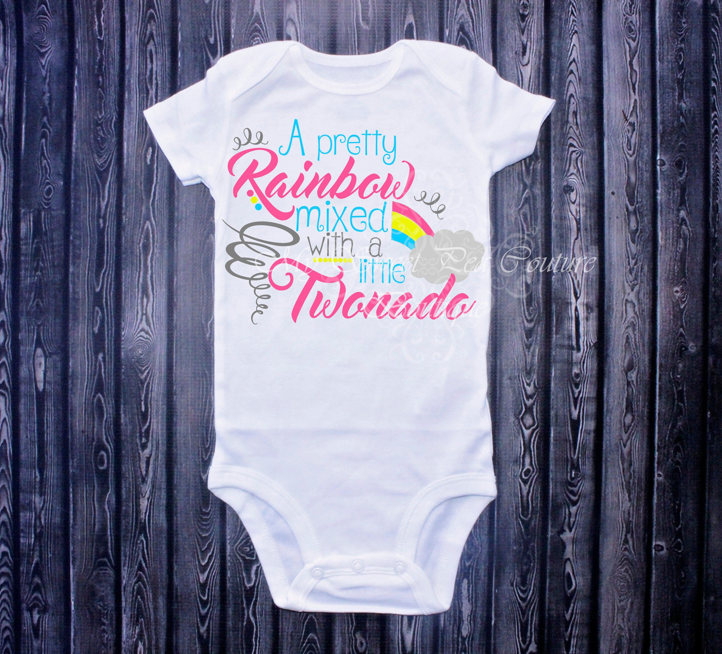 A Pretty Rainbow Mixed With Little Twonado Two Nado Birthday Second 2nd Shirt By
