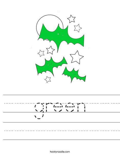 green Worksheet - Twisty Noodle | Halloween Coloring Pages ...