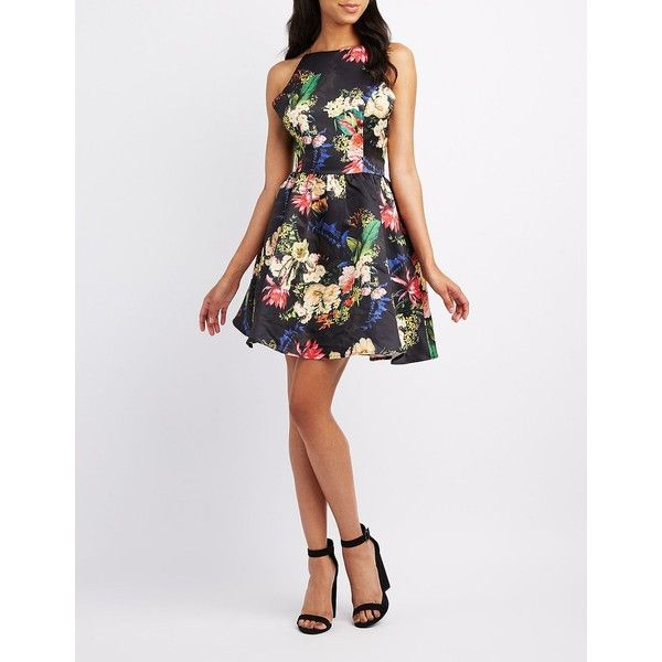 Charlotte Russe Floral Bib Neck Skater Dress ($20) ❤ liked on Polyvore featuring dresses, black combo, flare dress, flared dresses, skater dress, flared skater dress and satin skater dress