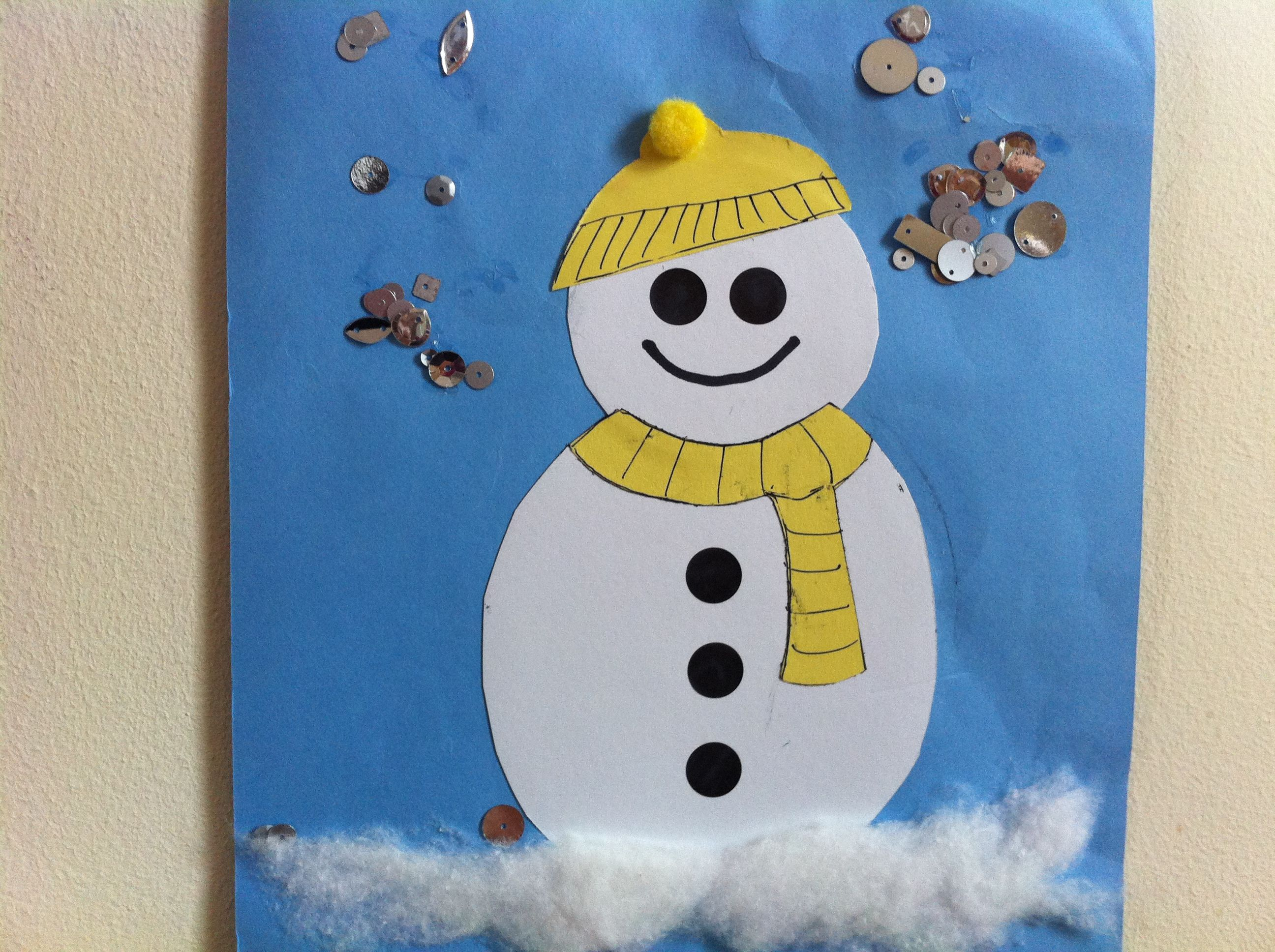 Really Simple Sticking Snowman With Sparkly Snow Cotton