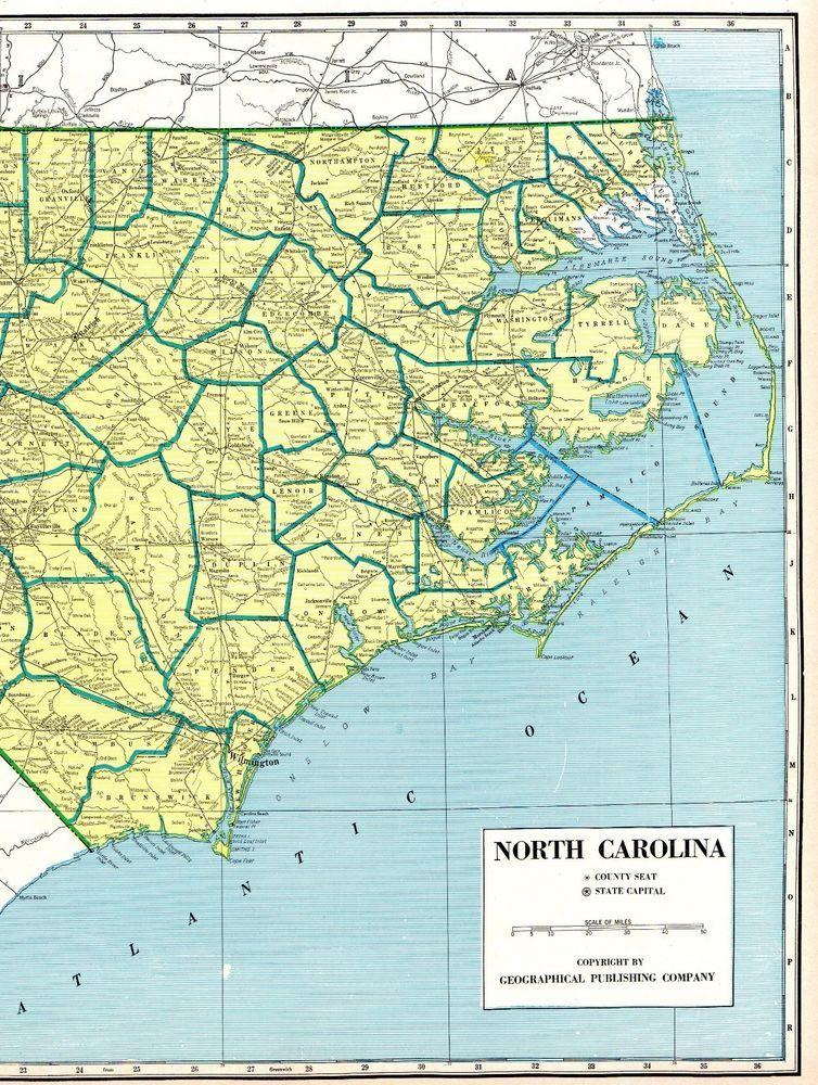Antique NORTH CAROLINA State Map Vintage 1967 Rare Poster Size Map ...