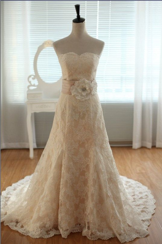 Vintage Ivory lace Champagne lining Wedding Dress by dresstalk ...