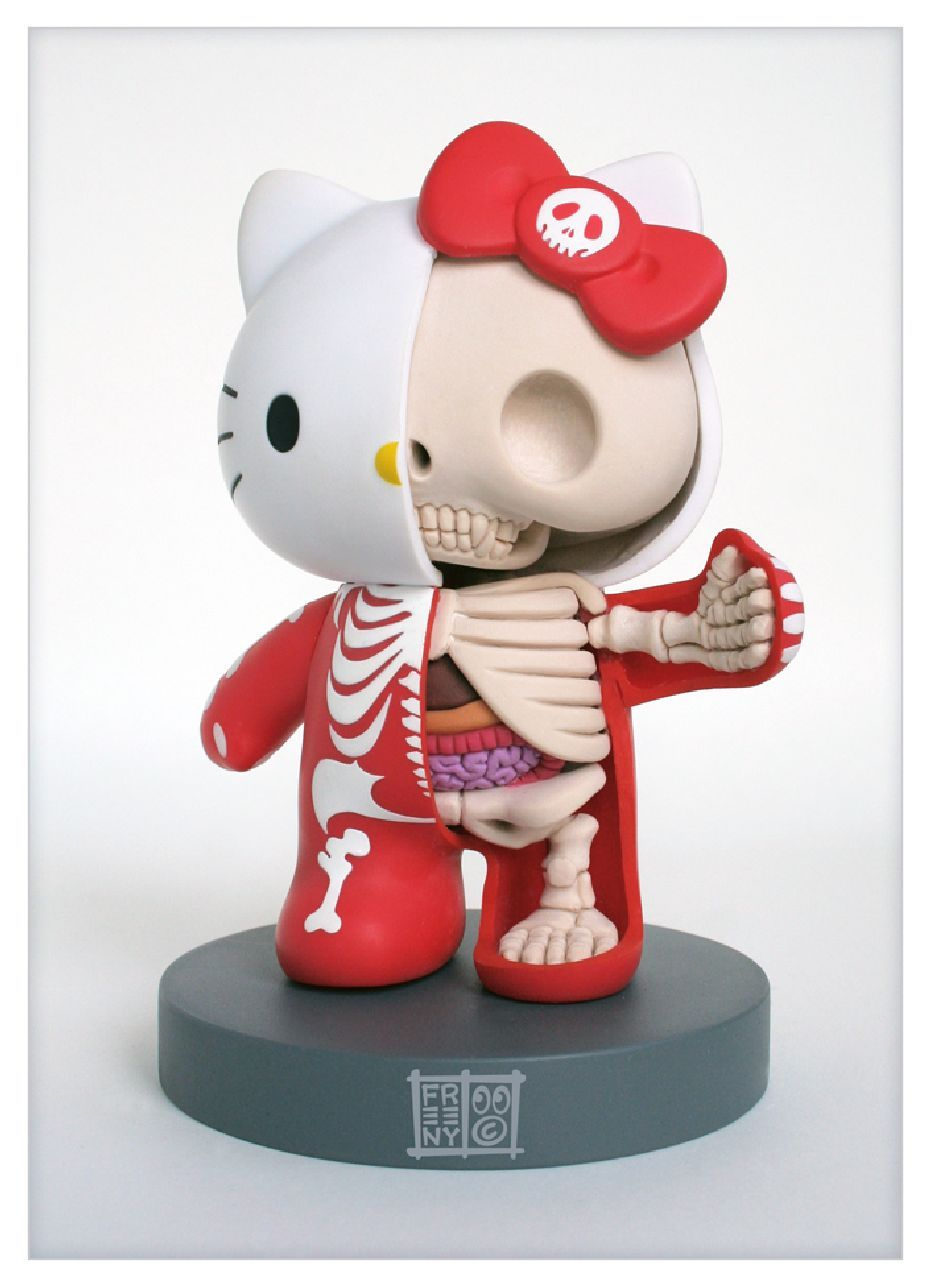 """Toy019 Hello Kitty Anatomy Sculpt by Jason Freeny / Cutaway 5"""" Anatomical Mario (Modified Vinyl Action Figure) / #Toy"""