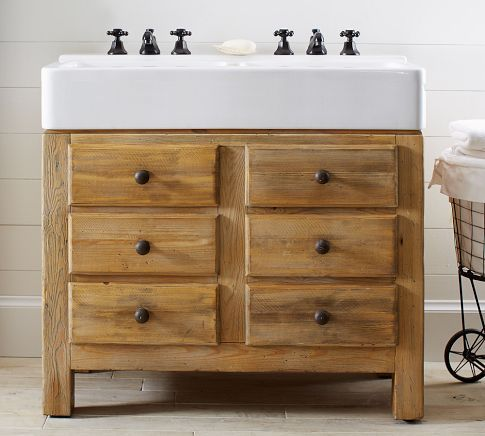 Mason Reclaimed Wood Double Sink Console   Wax Pine Finish | Pottery Barn  $1999