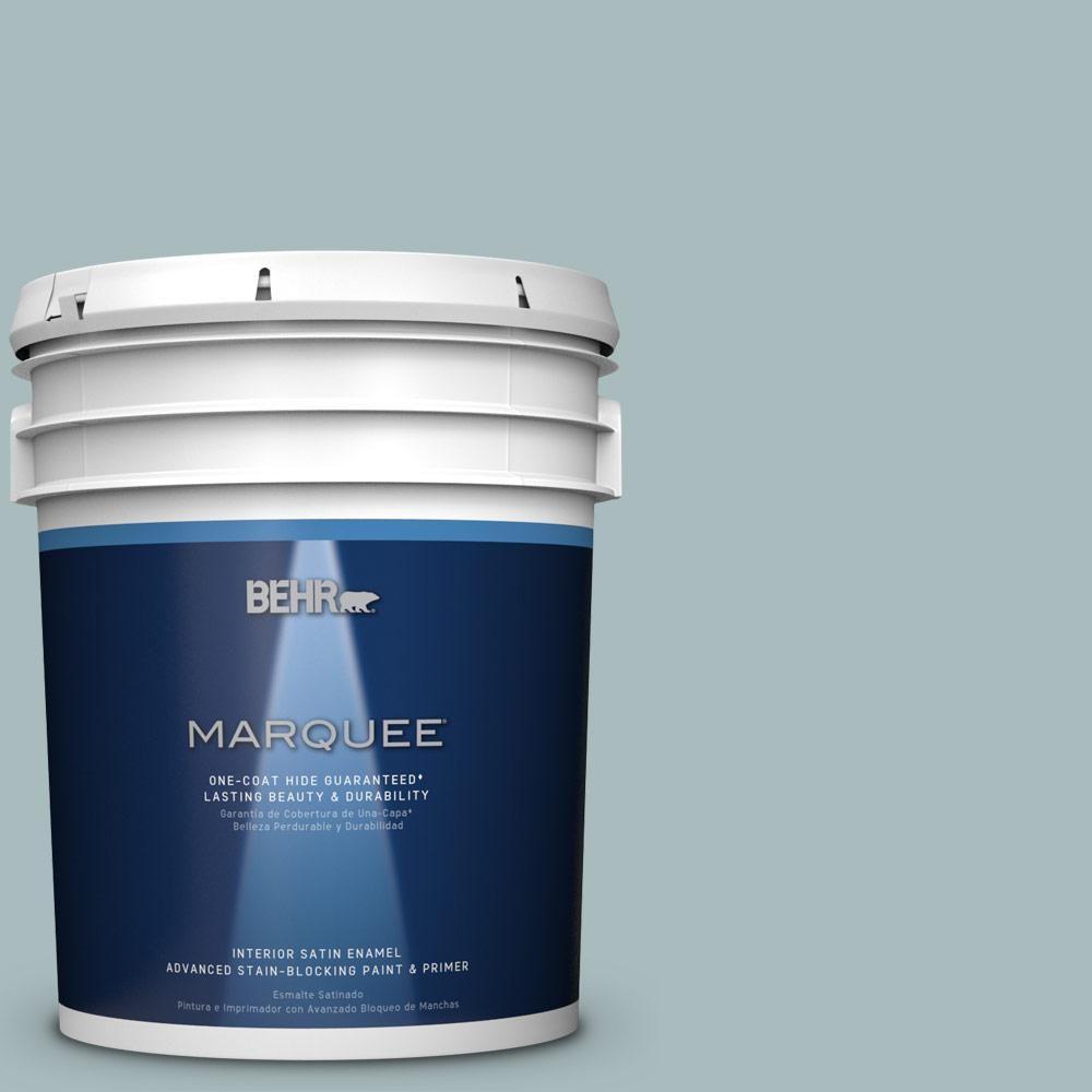 BEHR MARQUEE 5 gal. #MQ6-4 Gray Wool One-Coat Hide Satin Enamel Interior Paint