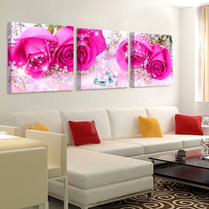 Pink Rose Wall Pictures Canvas Art Print Painting | Flower canvas ...