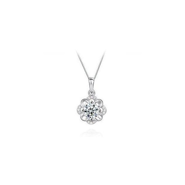 925 Sterling Silver Hibiscus Pendant with White Cubic Zircon and... ($82) ❤ liked on Polyvore
